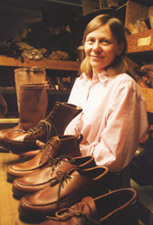 Elaine MacRostie, shoemaker, at the display